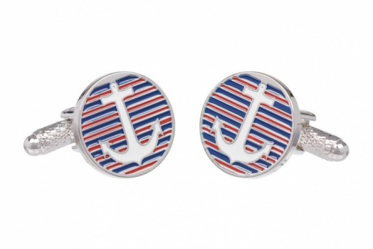 Anchor Cufflinks on Striped Background